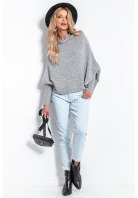 Fobya - Oversizowy Sweter z Opadającym Dekoltem - Szary. Kolor: szary. Materiał: wełna