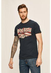 Pepe Jeans - T-shirt. Kolor: niebieski. Materiał: dzianina. Wzór: nadruk