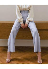 DOLLINA - Spodnie z szeroką nogawką. Stan: podwyższony. Kolor: szary