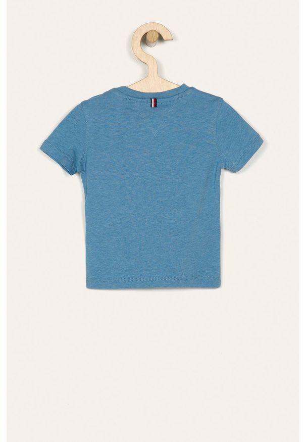 Niebieski t-shirt TOMMY HILFIGER casualowy, na co dzień