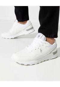 Ralph Lauren - RALPH LAUREN - Białe sneakersy Trackster 100. Kolor: biały. Materiał: guma. Wzór: haft