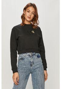 Czarna bluza Calvin Klein Jeans długa, bez kaptura, z nadrukiem, z długim rękawem