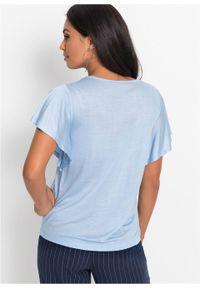 Shirt z rękawami z falbanami bonprix Shirt r.falb pudrowy nieb. Kolor: fioletowy. Długość rękawa: krótki rękaw. Długość: krótkie
