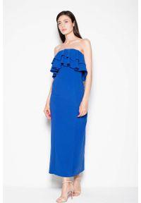 Niebieska sukienka z falbanami Venaton maxi, elegancka, z falbankami