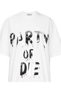 T-DRESS - Sukienka mini z pasem boa PARTY OR DIE. Kolor: biały. Wzór: nadruk. Typ sukienki: rozkloszowane. Długość: mini