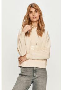 Kremowa bluza Calvin Klein Jeans z kapturem, z nadrukiem