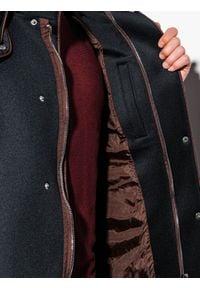 Ombre Clothing - Płaszcz męski z kapturem C200 - czarny - XL. Typ kołnierza: kaptur. Kolor: czarny. Materiał: dzianina, poliester #4