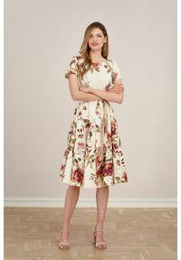 Marie Zélie - Sukienka Alana Dicentra kremowa. Typ kołnierza: kokarda. Kolor: kremowy. Materiał: bawełna, skóra, materiał, elastan. Długość rękawa: krótki rękaw. Styl: wizytowy, elegancki
