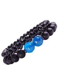 Sis&Me - LEVI Zestaw bransoletek z kamieni na gumce czarna unisex. Kolor: czarny. Kamień szlachetny: hematyt, agat, jadeit
