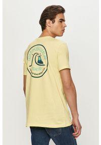 Żółty t-shirt Quiksilver z nadrukiem, na co dzień, casualowy