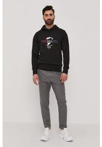 Trussardi Jeans - Trussardi - Bluza. Okazja: na co dzień. Kolor: czarny. Wzór: nadruk. Styl: casual