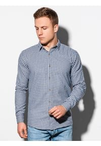 Ombre Clothing - Koszula męska w kratę z długim rękawem K563 - biała/granatowa - XXL. Kolor: biały. Materiał: bawełna, poliester. Długość rękawa: długi rękaw. Długość: długie