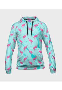 MegaKoszulki - Bluza damska fullprint z kapturem Origami flamingo. Typ kołnierza: kaptur. Materiał: dresówka, dzianina