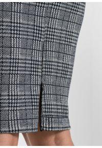 Elastyczna spódnica ołówkowa żakardowa bonprix czarno-biały w kratę. Kolor: czarny. Materiał: żakard