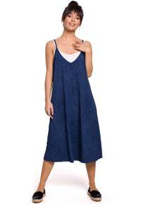 e-margeritka - Sukienka midi trapezowa na ramiączkach denim - m. Materiał: denim. Długość rękawa: na ramiączkach. Typ sukienki: trapezowe. Styl: sportowy. Długość: midi