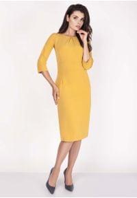 Nommo - Żółta Sukienka Midi z Rękawem za Łokieć. Kolor: żółty. Materiał: wiskoza, poliester. Długość: midi