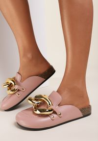 Renee - Różowe Klapki Rogena. Nosek buta: okrągły. Kolor: różowy. Wzór: aplikacja. Styl: elegancki