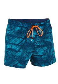 NABAIJI - Szorty Pływackie Krótkie 100 Tex Męskie. Kolor: niebieski. Materiał: poliamid, materiał, elastan. Długość: krótkie