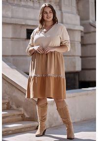 Sukienka dla puszystych Moda Size Plus Iwanek z dekoltem w kształcie v, na jesień, w kolorowe wzory