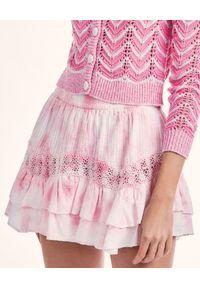 LOVE SHACK FANCY - Mini spódnica Rilo. Kolor: biały. Materiał: bawełna, koronka. Wzór: kwiaty, koronka, haft