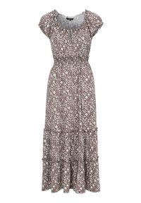 Fioletowa sukienka Happy Holly z krótkim rękawem, w kwiaty, maxi