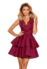 Numoco - Rozkloszowana Sukienka z Koronką - Bordowa. Kolor: czerwony. Materiał: koronka. Wzór: koronka