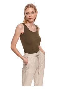 TOP SECRET - T-shirt bez rękawów damski gładki. Kolor: zielony. Materiał: tkanina. Długość rękawa: bez rękawów. Wzór: gładki. Styl: klasyczny