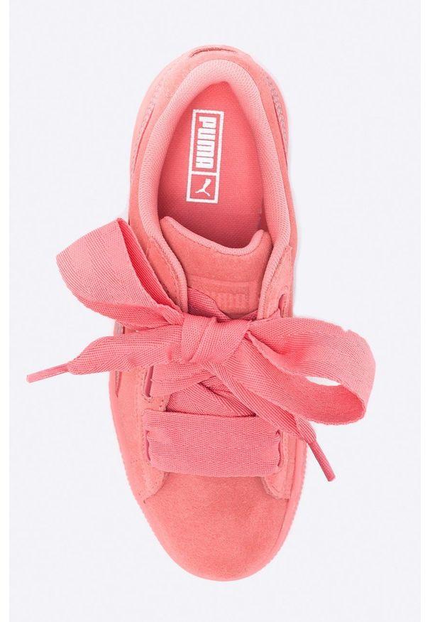 Różowe buty sportowe Puma na sznurówki, z cholewką, z okrągłym noskiem