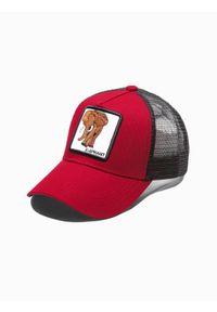 Ombre Clothing - Czapka męska z daszkiem H100 - czerwona - uniwersalny. Kolor: czerwony. Materiał: poliester
