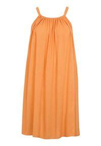 Zhenzi Gnieciona sukienka z wiskozy Ines pomarańczowy female pomarańczowy 50/52 (L). Okazja: na co dzień. Kolor: pomarańczowy. Materiał: wiskoza. Długość rękawa: na ramiączkach. Styl: elegancki, casual