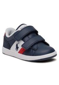 Polo Ralph Lauren - Sneakersy POLO RALPH LAUREN - Oakview Ez RF102883 Navy/Red. Okazja: na co dzień. Zapięcie: rzepy. Kolor: niebieski. Materiał: skóra ekologiczna, materiał. Szerokość cholewki: normalna. Styl: casual