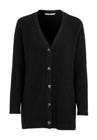 Cellbes Rozpinany sweter z bawełny Czarny female czarny 42/44. Okazja: na co dzień. Typ kołnierza: dekolt w kształcie V. Kolor: czarny. Materiał: bawełna. Długość: długie. Wzór: melanż. Styl: casual