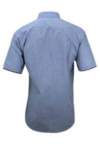 Niebieska elegancka koszula Jurel krótka, w kratkę
