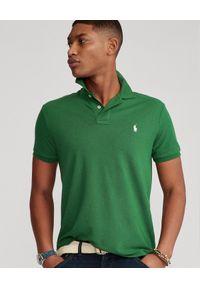 Ralph Lauren - RALPH LAUREN - Zielona koszulka The Earth Custom Slim Fit. Typ kołnierza: polo. Kolor: zielony. Materiał: prążkowany, tkanina. Wzór: haft. Styl: klasyczny