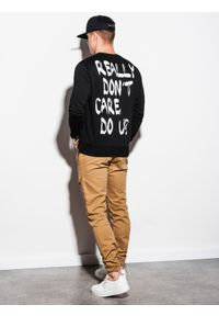 Ombre Clothing - Bluza męska bez kaptura z nadrukiem B1215 - czarna - XXL. Typ kołnierza: bez kaptura. Kolor: czarny. Materiał: bawełna, poliester. Wzór: nadruk #2