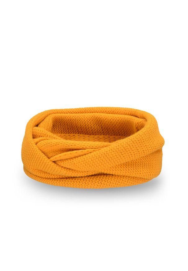 Zimowy komin damski PaMaMi - Miodowy. Kolor: pomarańczowy. Materiał: poliamid, akryl. Wzór: gładki. Sezon: zima