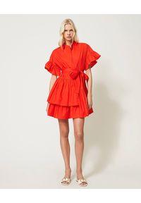 Czerwona sukienka mini TwinSet na lato, asymetryczna