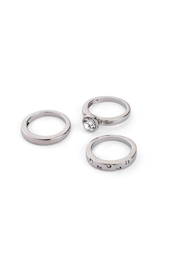 Pierścionki (3 części) bonprix srebrny