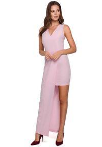 Liliowa sukienka wieczorowa MAKEOVER asymetryczna, maxi, z asymetrycznym kołnierzem