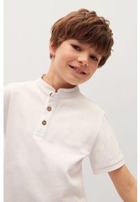 Biały t-shirt polo Mango Kids polo, na co dzień, gładki