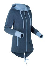 Bluza rozpinana z kapturem bonprix ciemnoniebieski melanż. Typ kołnierza: kaptur. Kolor: niebieski. Długość rękawa: długi rękaw. Długość: długie. Wzór: melanż. Styl: sportowy