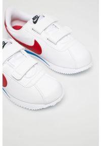 Białe buty sportowe Nike Kids na rzepy, Nike Cortez, z okrągłym noskiem, z cholewką