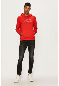 Czerwona bluza nierozpinana Fila z kapturem, z nadrukiem, casualowa