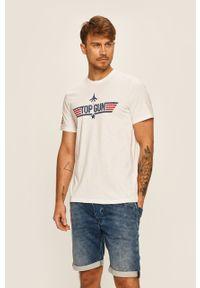 Biały t-shirt Only & Sons z nadrukiem, z okrągłym kołnierzem