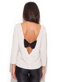 Beżowa bluzka Katrus z dekoltem na plecach