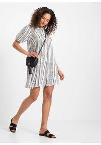 Sukienka z rękawami bufkami bonprix biało-czarny w paski. Kolor: biały. Wzór: paski. Długość: midi