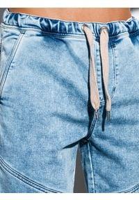 Ombre Clothing - Krótkie spodenki męskie jeansowe W219 - jasny jeans - XXL. Materiał: jeans. Długość: krótkie. Wzór: aplikacja