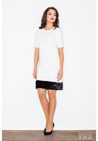 Figl - Ecru Elegancka Ołówkowa Sukienka z Futrzaną Wypustką. Materiał: futro. Typ sukienki: ołówkowe. Styl: elegancki