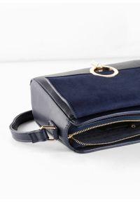 Niebieska torebka bonprix elegancka, w geometryczne wzory, na ramię, skórzana