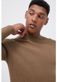 Premium by Jack&Jones - Sweter. Okazja: na co dzień. Kolor: brązowy. Materiał: bawełna, poliester. Długość rękawa: raglanowy rękaw. Styl: casual